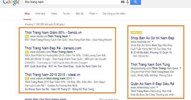 Vị trí quảng cáo từ khóa google