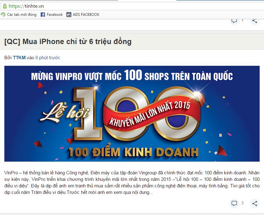 Demo bài PR cho Vinpro lễ hội 100