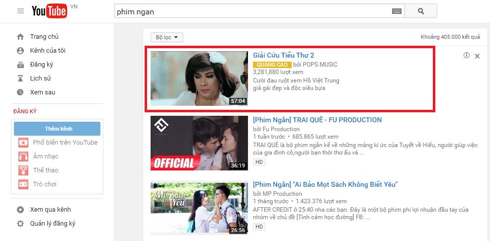 Quảng cáo tìm kiếm trong youtube