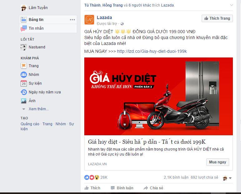 quảng cáo bài viết được tài trợ trên facebook