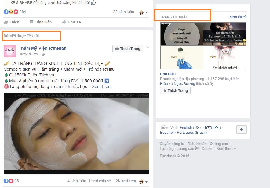 Quảng cáo bài viết góc bên phải bảng tin facebook