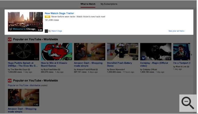 quảng cáo khám phá video trueview trên trang chủ youtube
