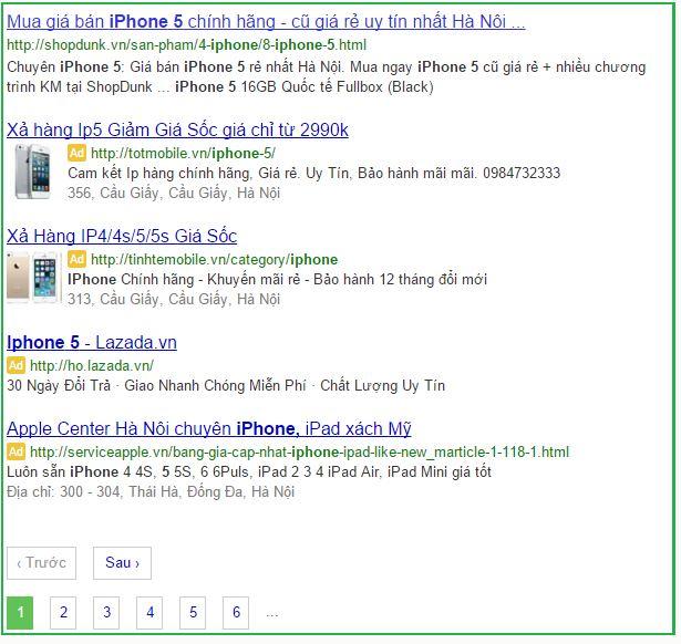 quảng cáo từ khóa tìm kiếm top 4